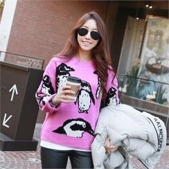 PIPPIN - Crew-Neck Penguin Knit Top