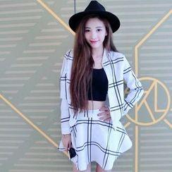Trinie - Set: Plaid Zip Jacket + A-Line Mini Skirt