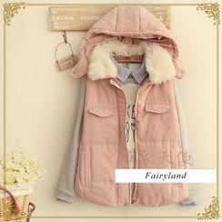 Fairyland - Faux-Fur Collar Hooded Padded Vest