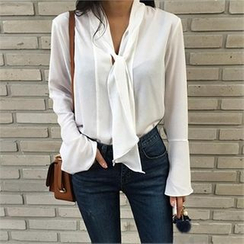LIPHOP - Tie-Neck Bell-Sleeve Chiffon Top