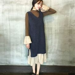 Alfie - Set: Corduroy Tank Dress + Bell-Sleeve Panel Pleated Dress