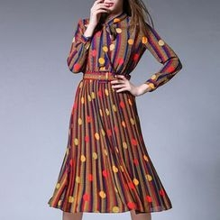 Merald - Patterned Long-Sleeve Dress