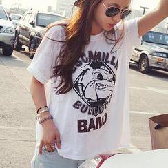 NANING9 - Bulldog Print Lettering T-Shirt
