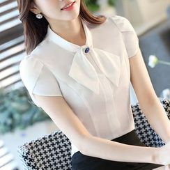 Arcadian - Bow Short Sleeve Chiffon Shirt / Pencil Skirt