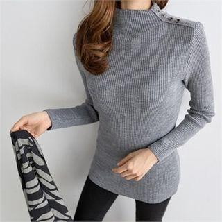 PEPER - Mock-Neck Rib-Knit Top