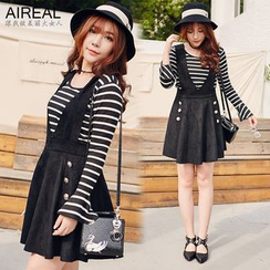 AIREAL - Set: Long-Sleeve Striped Top + Jumper Skirt