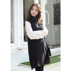 DEEPNY - Turtle-Neck Sleeveless Knit Dress
