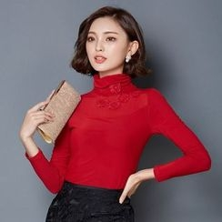 LunarS - Turtleneck Embroidered Long-Sleeve Top