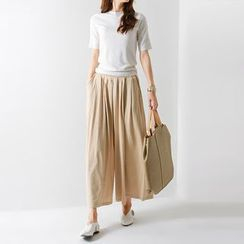 FASHION DIVA - Band-Waist Cotton Culottes