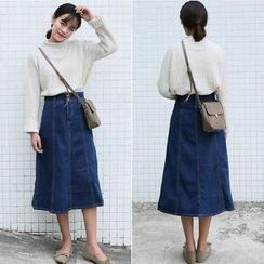 CosmoCorner - Midi A-Line Denim Skirt