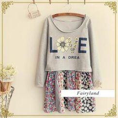 Fairyland - Set: Lettering T-Shirt + Floral Panel Slipdress
