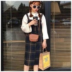 RUI - Color-Block Check Woolen Jumper Skirt