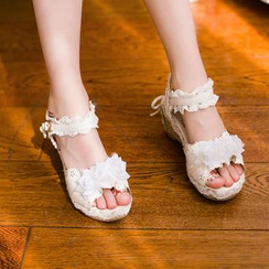 Candy Rain - Kids Lace Trim Wedge Sandals