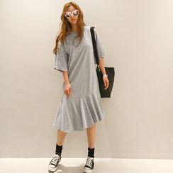 NANING9 - Elbow-Sleeve A-Line Dress