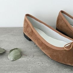 DAILY LOOK - Bow-Detail Genuine Leather Flats