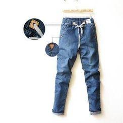 Tulander - 抽繩修身牛仔褲