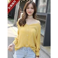 BBAEBBAE - Off-Shoulder Crinkled Blouse