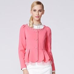 O.SA - Lace-Trim Peplum Jacket