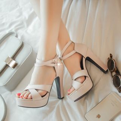 Pastel Pairs - 高跟交错带凉鞋