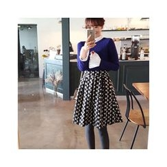 LEELIN - Patterned Flare Skirt