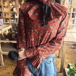 Bloombloom - Ribbon Print Bell-Sleeve Chiffon Top