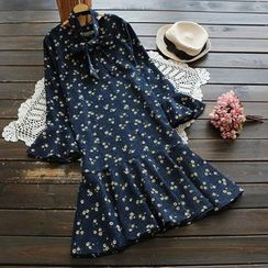 YOYO - Long-Sleeve Floral Ruffle Dress