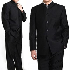 Komomo - Set: Mandarin Collar Buttoned Jacket + Dress Pants
