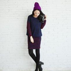 Porta - Set: Mélange Sweater + Mélange Knit Skirt