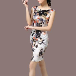 la nuit - Floral Print Sleeveless Silk Dress