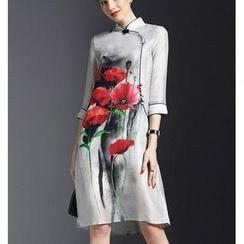 la nuit - Floral Print 3/4-Sleeve Cheongsam