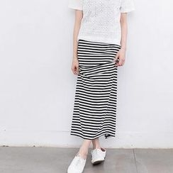 Lucky Leaf - Striped Maxi Skirt