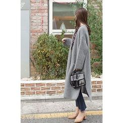 CHERRYKOKO - Open-Front Wool Blend Long Cardigan