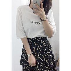 OZNARA - Elbow-Sleeve Lettering T-Shirt
