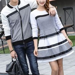 Igsoo - Couple Matching Color Panel Zip Jacket / Long Sleeve A-Line Dress