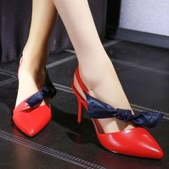 JY Shoes - Bow Accent High Heel Sandals