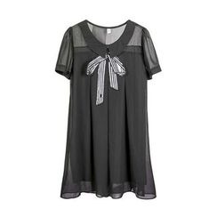 Flore - Bow-Accent Chiffon Dress