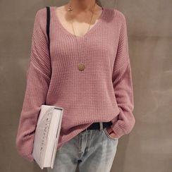 NANING9 - V-Neck Drop-Shoulder Sweater