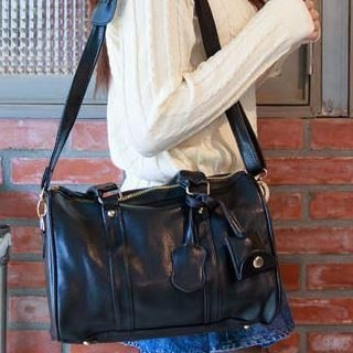 nine percent - Faux-Leather Boston Bag With Strap