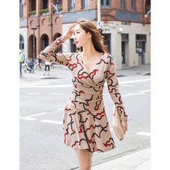 GUMZZI - Wrap-Front Pattern Dress