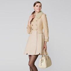 O.SA - Fleece-Collar Lace-Panel Coatdress