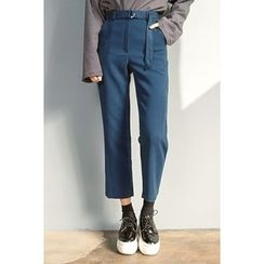 migunstyle - Belted-Detail Cropped Pants