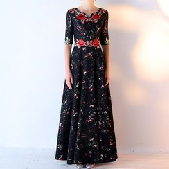 Royal Style - Floral Embroidered Elbow-Sleeve Evening Gown