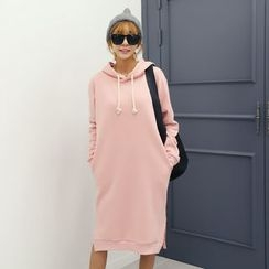 DANI LOVE - Hooded Brushed-Fleece Lined Midi Pullover Dress