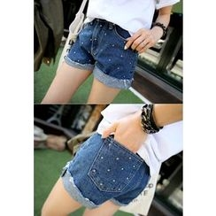 REDOPIN - Denim Metal-Studded Shorts