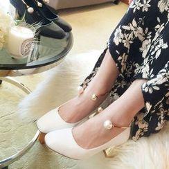 QQ Trend - 仿珍珠撞跟高跟鞋