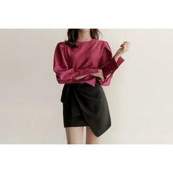 UPTOWNHOLIC - Wrap-Front Mini Skirt