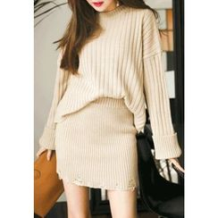 REDOPIN - Set: Round-Neck Ribbed Knit Top + Band-Waist Skirt