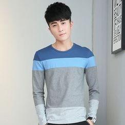 Walwa - Colour Block Long-Sleeve T-shirt