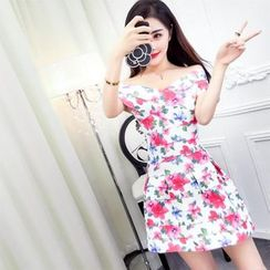Mi Camilla - 套裝: 露肩印花上衣 + 迷你裙