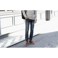 SCOU - Distressed Straight-Cut Jeans